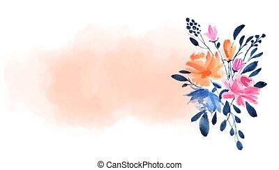 testo, spazio, acquarello, fondo, fiore