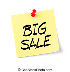 testo, vendita, nota gialla, carta, grande