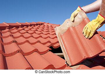 tettoia, riparazione, casa, lavoratore, costruzione, piastrella