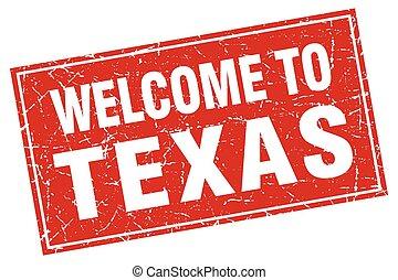 texas, francobollo, benvenuto, grunge, quadrato rosso