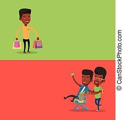 text., bandiere, shopping, due, spazio