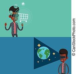 text., bandiere, tecnologia, due, spazio