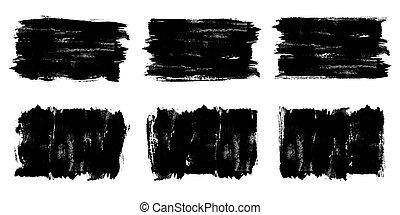 texture., bandiera, spazzola, nero, grunge, colpi, vernice, vector., dipinto, fondo, set., etichette