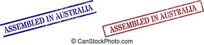 textured, australia, rettangolo, montato, cornice, francobollo, sigilli, graffiato