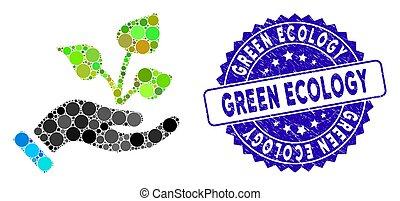 textured, ecologia, verde, agricoltura, icona, mano, progetto, mosaico, sigillo