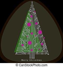 theme., creato, sempreverde, branches., collegato, concept., wireframe, eco, albero natale, amichevole, linee, celebrazione, vettore, illustrazione tecnologia
