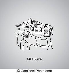 thessaly., grigio, linea, icona, meteora, fondo., grecia
