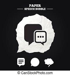 think., icons., discorso, chiacchierata, comico, bolla, signs.