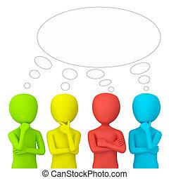 think., persone, -, 3d, piccolo