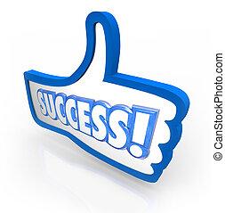 thumb's, parola, come, successo, valutazione, su, approvazione, feedback