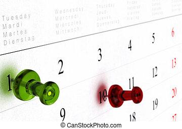 thumbtack, indicare, puntina da disegno, dieci, appuntito, uno, numero, effetto, verde, prospettiva, offuscamento, calendario, settimanale, rosso, vista