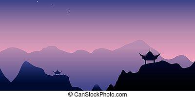 tiber, fondo, montagne, tramonto, paesaggio, monastero