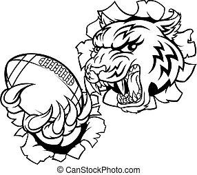 tiger, americano, giocatore, sport, football, mascotte