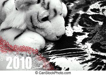 tiger, anno, bianco