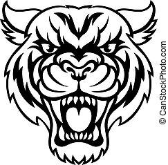 tiger, arrabbiato, sport, mascotte