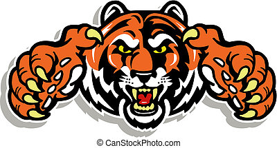 tiger, artigli, faccia