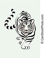 tiger, bianco, vettore, illustrazione, stolen.