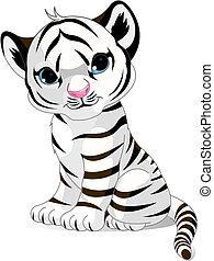 tiger, carino, bianco, cucciolo