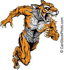 tiger, correndo, sport, mascotte