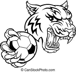 tiger, football, animale, giocatore, mascotte, calcio, sport