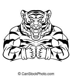 tiger, forte, mascotte