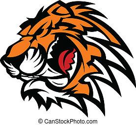 tiger, grafico, mascotte