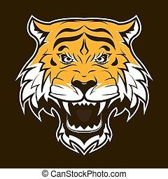 tiger, head., arrabbiato, ruggire, face.
