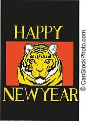 tiger, nuovo, vettore, cinese, anno