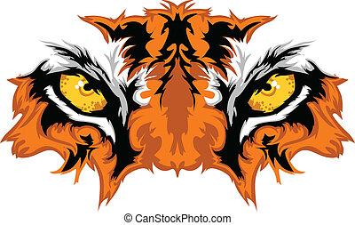 tiger, occhi, mascotte, grafico