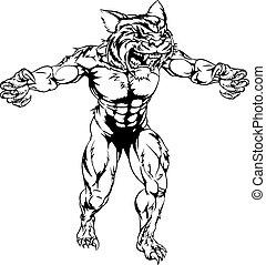 tiger, pauroso, sport, mascotte