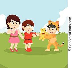 tiger, prendere, ragazza, mascotte, bambola