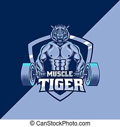 tiger, sagoma, mascotte, muscolo, logotipo