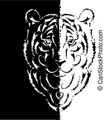 tiger, simbolo, silhouette, stilizzato, anno, 2010