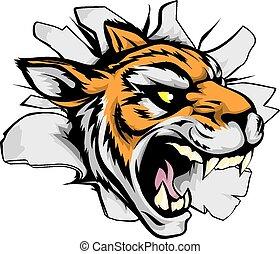 tiger, sport, fuori, rottura, mascotte