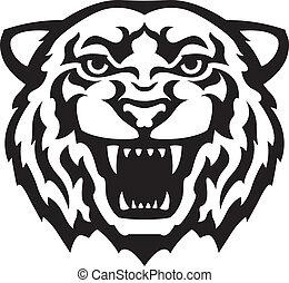 tiger, tatuaggio, testa