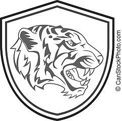 tiger, tatuaggio, testa, mascotte