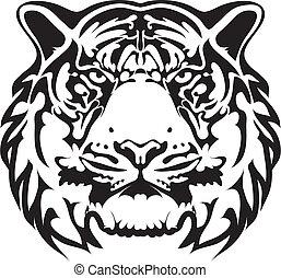 tiger, tatuaggio, vettore, -