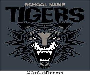 tiger, tribale, mascotte