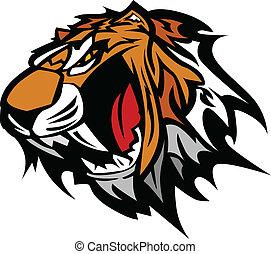 tiger, vettore, mascotte, grafico