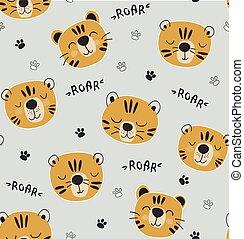 tigri, divertente, illustrazione, infantile, modello, seamlesss, vivaio, tessuto