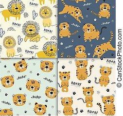 tigri, set, divertente, leone, illustrazione, infantile, modello, vivaio, seamlesss, tessuto