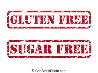 timbri gomma, gluten, libero, zucchero