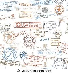 timbri gomma, simbolo, passaporto, viaggiare