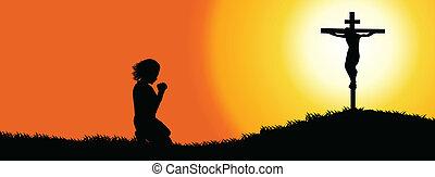 timeline, silhouette, -, coperchio, preghiera