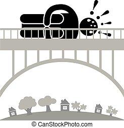 timoroso, uomo, gefirofobia., bridge., croce