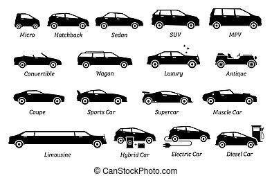 tipi, automobile, differente, elenco, icons.
