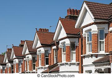 tipico, inglese, case fila, terrazze, london.