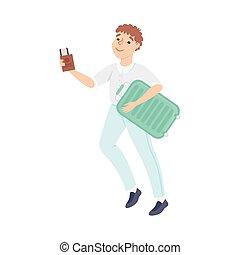 tipo, giovane, illustrazione, turista, vacanza, correndo, uomo, valigia, biglietti piani, andare, vettore, viaggio, cartone animato