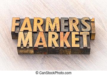 tipo, legno, bandiera, mercato, coltivatori