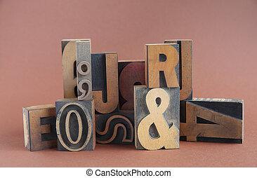 tipo, legno, gruppo, letterpress